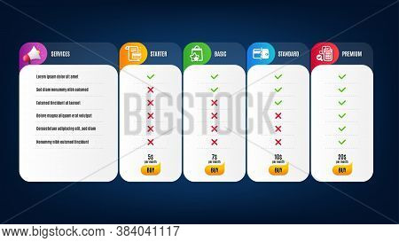Payment Card, Payment Methods And Loyalty Points Icons Simple Set. Price List, Pricing Table. Bill A