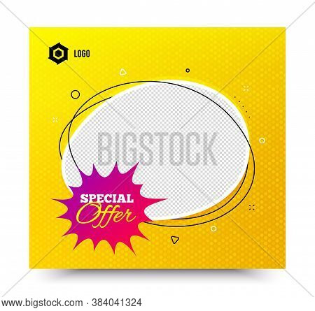 Special Offer Badge. Yellow Banner Template. Discount Banner Shape. Sale Coupon Bubble Icon. Social