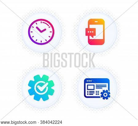 Time, Cogwheel And Smartphone Message Icons Simple Set. Button With Halftone Dots. Web Settings Sign