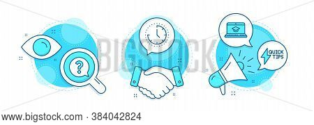Time, Question Mark And Website Education Line Icons Set. Handshake Deal, Research And Promotion Com