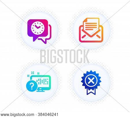 Online Quiz, Clock And Mail Correspondence Icons Simple Set. Button With Halftone Dots. Reject Medal
