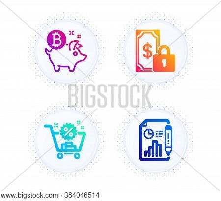 Bitcoin Coin, Private Payment And Shopping Cart Icons Simple Set. Button With Halftone Dots. Report