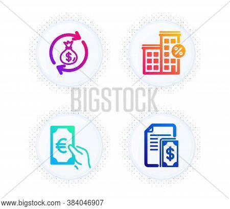 Loan House, Finance And Money Exchange Icons Simple Set. Button With Halftone Dots. Payment Sign. Di