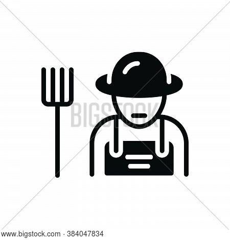 Black Solid Icon For Farmer Peasant Agriculturist Husbandman Grain-grower Grower Planter