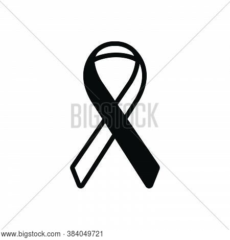 Black Solid Icon For Ribbon Cancer-or-other Cancer Disease Sickness Long-illness Awareness Hiv Aids