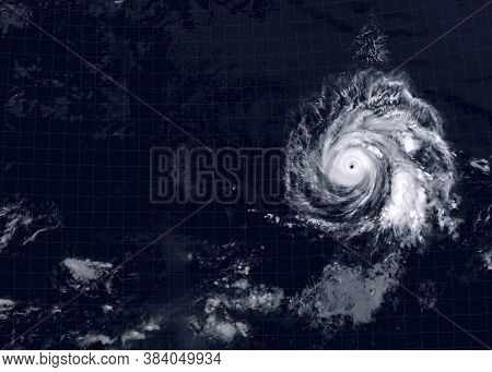 Storm Over Sea For Background, View Of Tropical Hurricane Eye From Space. Ocean Typhoon On Satellite