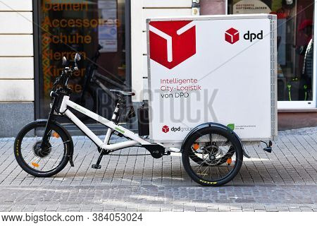 Heidelberg, Germany - April 2020: Cargo Bike For Parcel Deliveries Free From Local Emissions From Dp