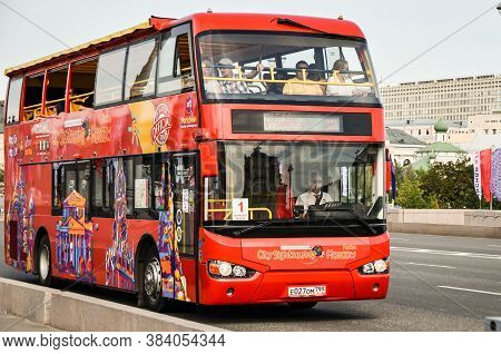 Red Sightseeing Double-decker Hop On Hop Off Bus Tours In Moscow. City Sightseeing Russia. Moscow/ru