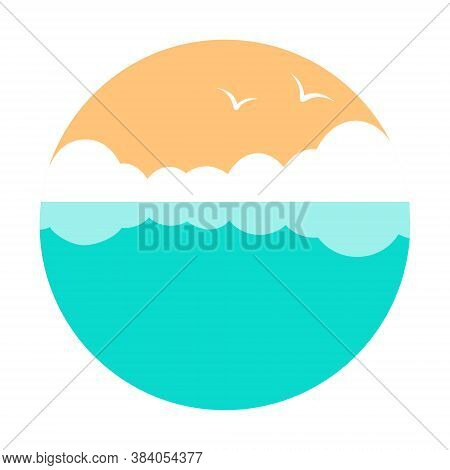 Sea With Seagulls And Clouds. Vector Round Illustration In Flat Style.