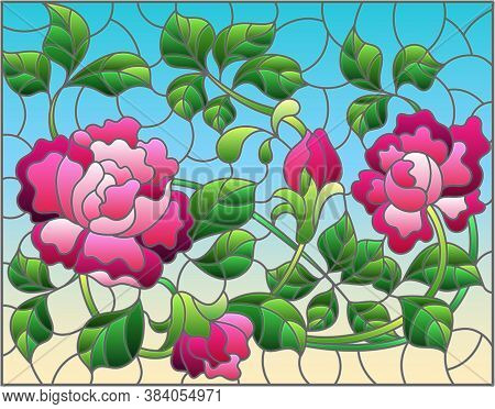 Illustration In Stained Glass Style With Intertwined Pink Roses On A Blue Background, Horizontal Ori