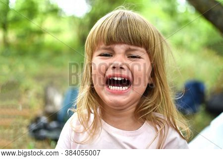 Little Baby Girl Crying. Portrait Of Crying Girl Three Years Old Caucasian