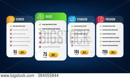 Like, Internet Chat And Coffee Machine Line Icons Set. Pricing Table, Subscription Plan. Share Call