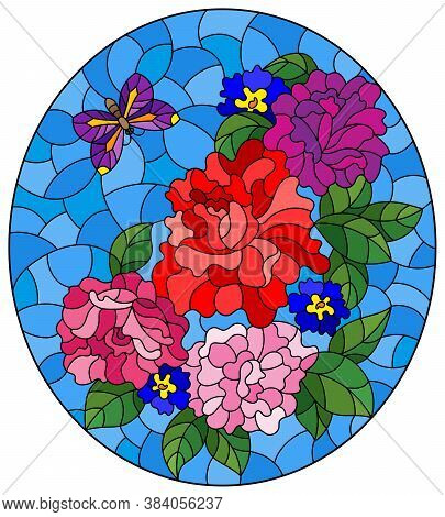 Illustration In Stained Glass Style With Rose Flowers And A Butterfly On A Blue Background, Oval Ima