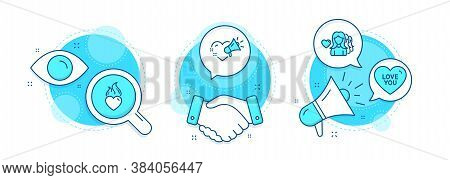 Love You, Love Message And Heart Flame Line Icons Set. Handshake Deal, Research And Promotion Comple