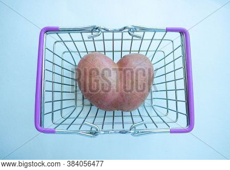 Pink Heart Potatoes In The Grocery Basket