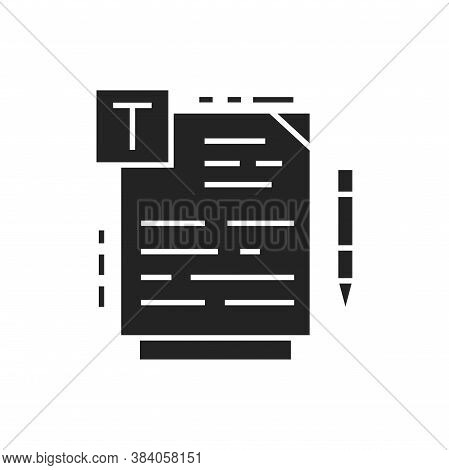 Course Material Black Glyph Icon. Online Course Learning Exam. Training Programs, Courses And Lectur