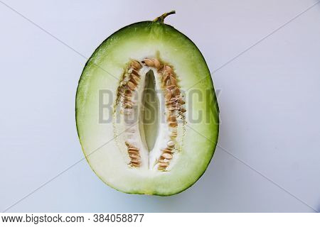Melon, Melon Slices Isolated On White Background.