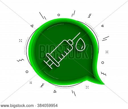 Medical Syringe Line Icon. Chat Bubble With Shadow. Medicine Vaccine Sign. Pharmacy Medication Symbo