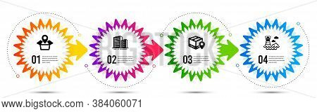 Parcel Tracking, Package Location And Buildings Icons Simple Set. Timeline Steps Infographic. Lighth