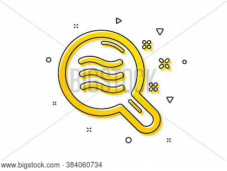 Search Magnifier Sign. Skin Condition Icon. Yellow Circles Pattern. Classic Skin Condition Icon. Geo