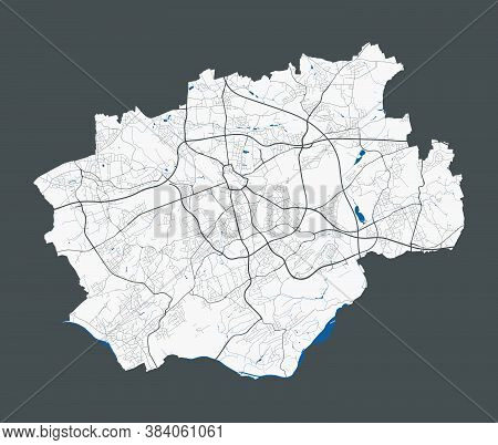 Bochum Map. Detailed Map Of Bochum City Administrative Area. Cityscape Panorama. Royalty Free Vector