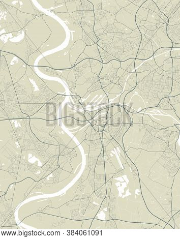 Detailed Map Of Duisburg City Administrative Area. Royalty Free Vector Illustration. Cityscape Panor