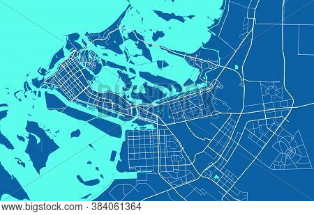 Detailed Map Of Abu Dhabi City Administrative Area. Royalty Free Vector Illustration. Cityscape Pano