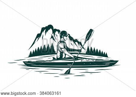 Kayaking On Mountain River Vector Illustration