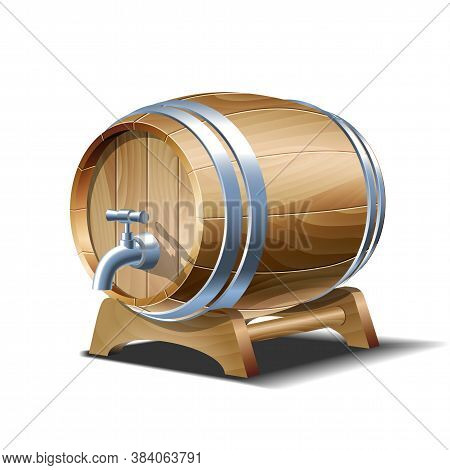 Wooden Barrel For Wine, Beer Or Whiskey. Realistic Cask From Oak Wood