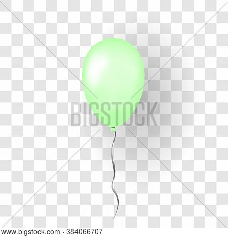 Green Balloon 3d, Thread, Isolated White Transparent Background. Color Glossy Flying Baloon, Ribbon,