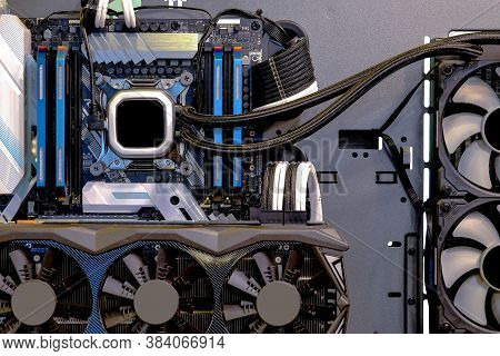 Close-up And Inside Desktop Pc Gaming And Water Cooling Cpu, Interior On Computer Pc Case And Techno