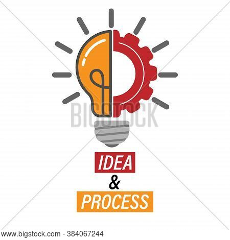Idea And Progress. Lamp And Gear. Editable Vector Illustration For Website, Booklet, Project, And Cr
