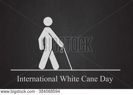 White Cane Day Crosswalk Man With Cane
