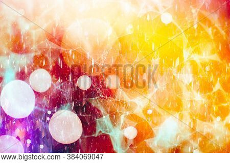Magic Background With Color Festive Background With Natural Bokeh And Bright Golden Lights. Vintage