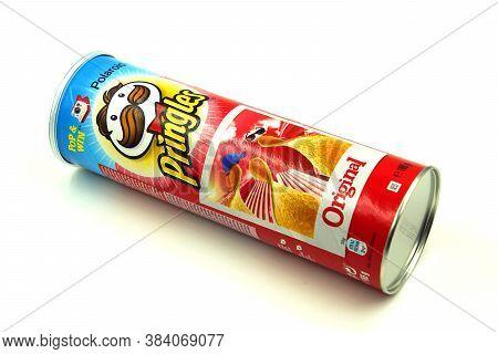 Zaandam, The Netherlands - September 6, 2020: Red Pringles Original Package Against A White Backgrou