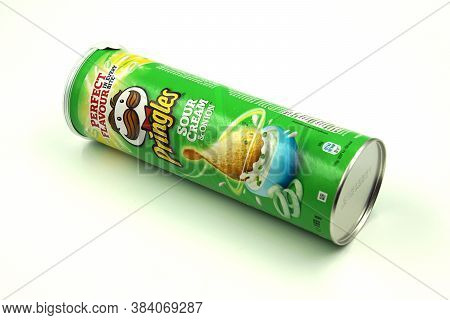 Zaandam, The Netherlands - September 6, 2020: Green Pringles Sour Cream And Onion Package Against A