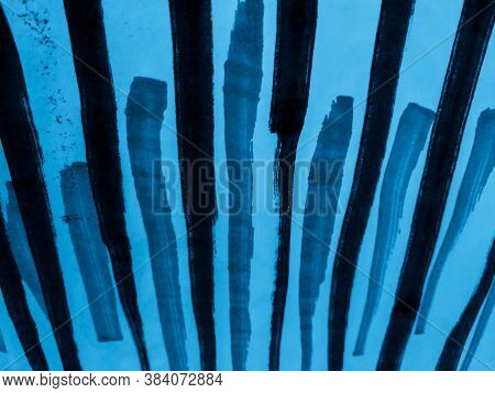 Strips Watercolor. Sky Abstract Lines. Indigo Chalk Stripe Pattern. Watercolor Stripes Background. H