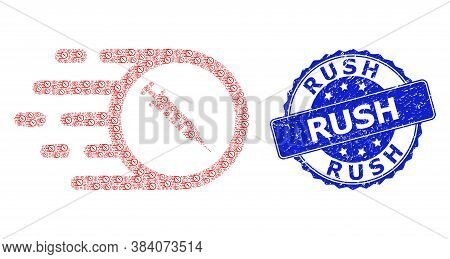 Rush Dirty Round Seal Imitation And Vector Recursive Collage Rush Vaccine. Blue Stamp Seal Has Rush