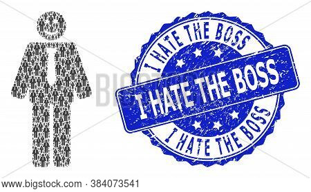 I Hate The Boss Grunge Round Stamp Seal And Vector Fractal Mosaic Happy Boss. Blue Seal Has I Hate T