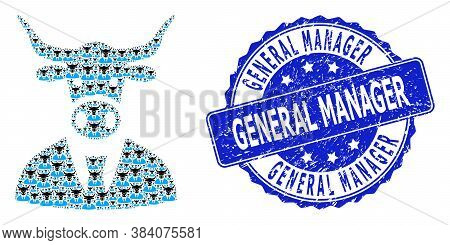 General Manager Grunge Round Stamp Seal And Vector Fractal Mosaic Cow Boss. Blue Stamp Seal Has Gene