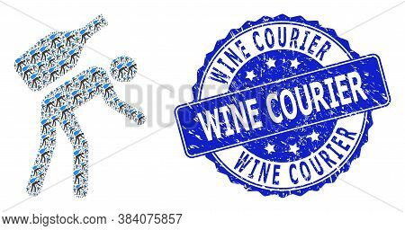 Wine Courier Scratched Round Seal And Vector Recursion Collage Wine Courier. Blue Seal Has Wine Cour