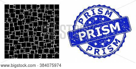 Prism Textured Round Seal Imitation And Vector Recursion Mosaic Square Shape. Blue Seal Includes Pri