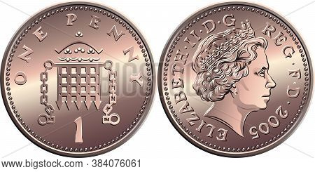 Vector British Money Bronze Coin One Penny, Crowned Portcullis With Chains On Reverse, Queen On Obve