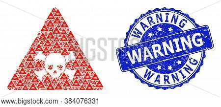 Warning Textured Round Stamp And Vector Recursion Mosaic Skull Toxic Warning. Blue Seal Includes War