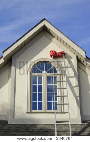 Stucco House Window And Extension Ladder