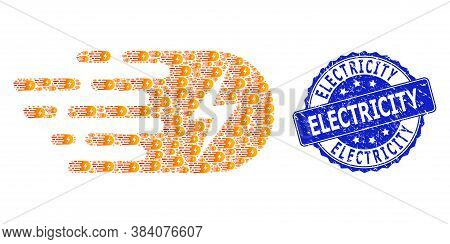 Electricity Corroded Round Stamp Seal And Vector Recursive Composition Electricity. Blue Stamp Conta
