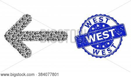West Corroded Round Seal Imitation And Vector Recursive Collage Left Arrow. Blue Seal Includes West