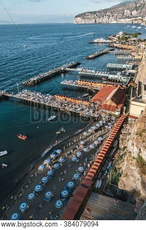 Sorrento, Italy -august 26 2020: Lionelli's Beach And Marameo Beach Club In Sorrento With Umbrellas