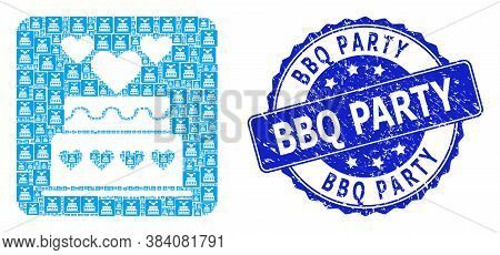 Bbq Party Unclean Round Seal And Vector Recursion Mosaic Marriage Cake. Blue Seal Has Bbq Party Capt