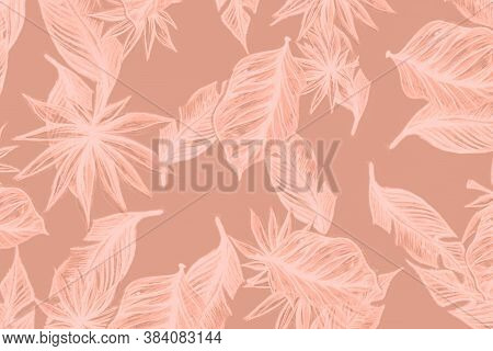 Hibiscus Tropical. Brown Tropical Leaves Hand. Yellow Tropical Leaves Isolated. Monstera Leaf Wallpa
